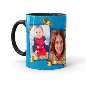 Caneca Personalizada Mãe Rainha e Príncipe com Foto Preta