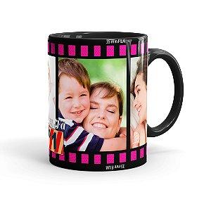 Caneca Personalizada Mãe Sou Seu Fã com Fotos Preta