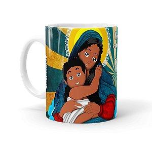 Caneca Porcelana Amor de Mãe Negra Branca