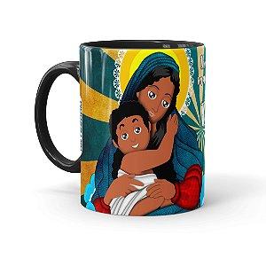 Caneca Porcelana Amor de Mãe Negra Preta