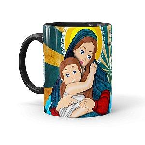 Caneca Porcelana Amor de Mãe Preta