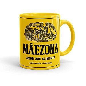 Caneca Porcelana Mãezona Maizena Amarela