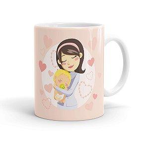 Caneca Porcelana Parabéns Mamãe Branca