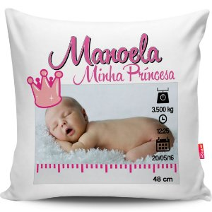 Almofada Personalizada Nascimento Menina Príncesa 40x40cm