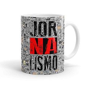 Caneca Porcelana Jornalismo Black Jornal Branca