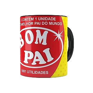 Caneca Porcelana Pai Bombril 1001 Utilidades Preta