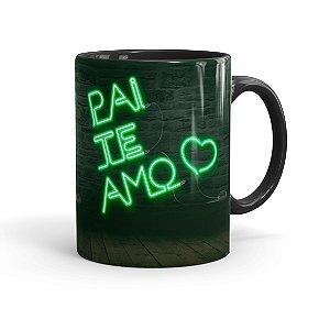 Caneca Porcelana Pai Te Amo Neon Verde Preta