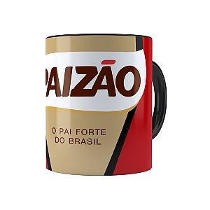 Caneca Porcelana Paizão Café Pilão Preta
