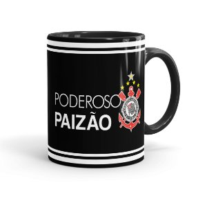 Caneca Porcelana Poderoso Paizão Corinthians Preta