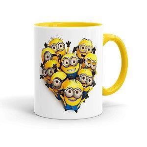 Caneca Porcelana Minions Coração Amarela