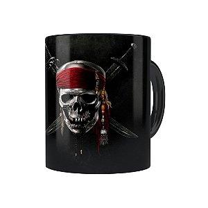 Caneca Porcelana Piratas do Caribe 01 Preta