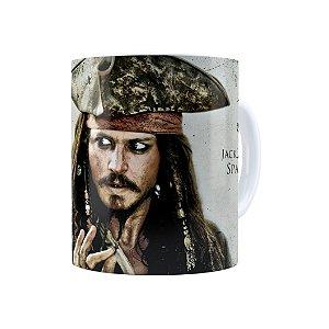 Caneca Porcelana Piratas do Caribe Jack Sparrow Branca