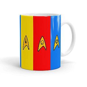 Caneca Star Trek Uniformes Comando, Engenharia e Ciência Branca