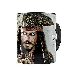 Caneca Porcelana Piratas do Caribe Jack Sparrow Preta
