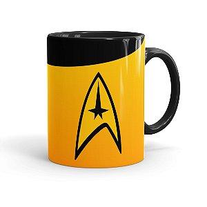 Caneca Porcelana Star Trek Comando Preta