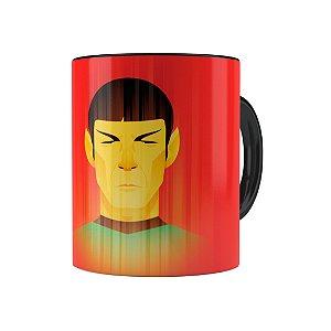 Caneca Porcelana Star Trek Spock 01 Preta