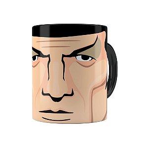 Caneca Porcelana Star Trek Spock 02 Preta