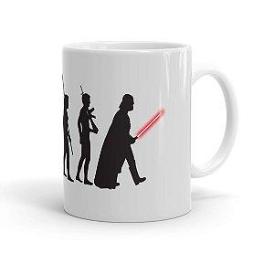 Caneca Porcelana Star Wars A Evolução de Darth Vader Branca