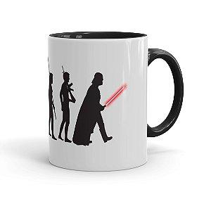 Caneca Porcelana Star Wars A Evolução de Darth Vader Preta