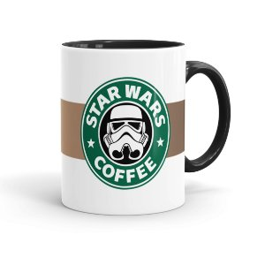 Caneca Porcelana Star Wars Coffee Preta
