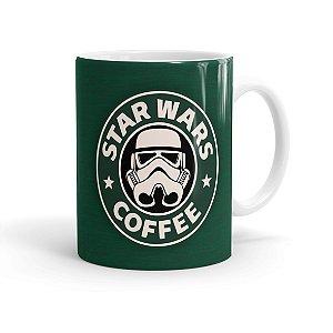 Caneca Porcelana Star Wars Coffee Verde Branca