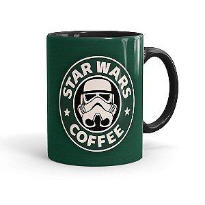 Caneca Porcelana Star Wars Coffee Verde Preta