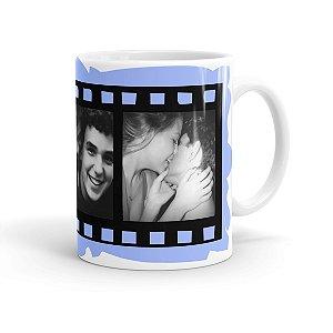 Caneca Personalizada Filme Fotográfico com 3 Fotos Branca