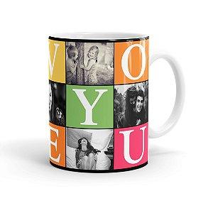 Caneca Personalizada Jogos do Amor com 7 Fotos 02 Branca