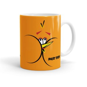 Caneca Porcelana Angry Birds Orange Branca