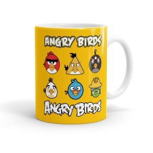 Caneca Porcelana Angry Birds Personagens Branca