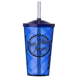 Copo Twister Tampa e Canudo Personalizado 500ml Azul