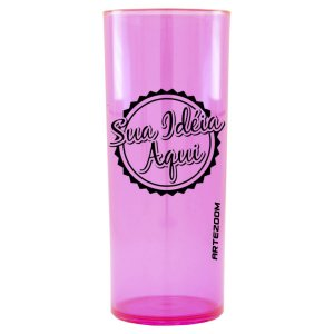 Copo Personalizado Long Drink Acrílico 350ml Rosa Neon
