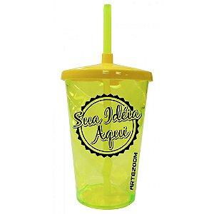 Copo Twister Tampa e Canudo Personalizado 500ml Amarelo