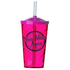 Copo Twister Tampa e Canudo Personalizado 500ml Rosa Pink