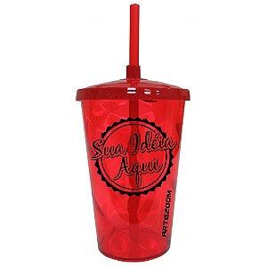 Copo Twister Tampa e Canudo Personalizado 500ml Vermelho