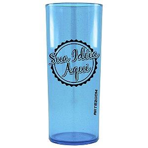 Copo Personalizado Long Drink Acrílico 350ml Azul Claro