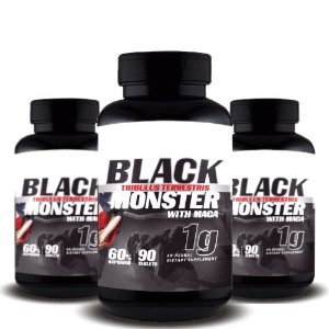 KIT 3 TRIBULUS TERRESTRIS BLACK MONSTER WITH MACA 1g - Super Nutrition Supplements | 3x 90 cápsulas