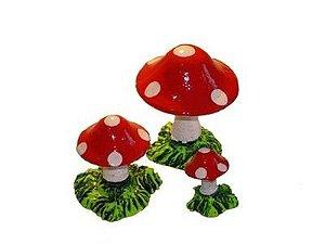 Enfeite Cogumelos Em Resina Para Terrário