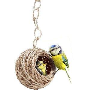 Ninho Especial Pequeno De Sisal Para Pássaros Animalíssimo 16cm