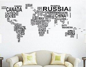 Adesivo de Parede - Mapa Mundi