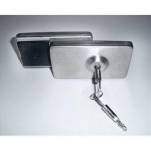 Fechadura JBM (TRAVA) INOX Para Porta De Vidro P/ Abrir (GIRO) Com Chave Tetra