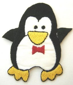Patch Bordado Termocolante Pinguim