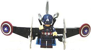 Boneco de Montar Capitão América estilo Lego