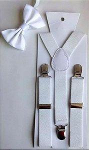 Kit de Suspensório  + Gravata Borboleta Branco Adulto e Infantil
