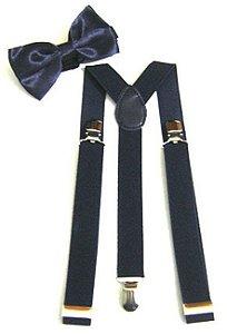 Kit de Suspensório  + Gravata Borboleta Azul Marinho Adulto e Infantil