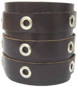 Pulseira Bracelete Couro 3 Fivelas Ilhós Madstar