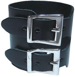 Bracelete Pulseira 2 Fivelas Couro Rock Madstar