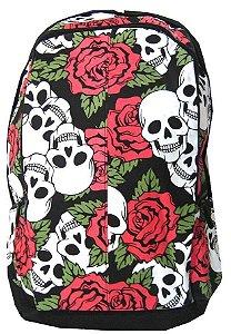 Mochila Madstar Caveira Roses Rock Punk Para Notebook