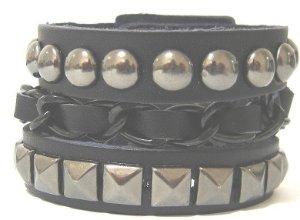 Munhequeira Bracelete Corrente Tachas Spike Rock Madstar