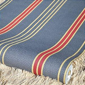 Papel de Parede Azul com Listras Vermelhas e Dourado